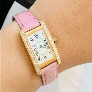 Authentic Cartier Tank Americana Watch Pink Strap